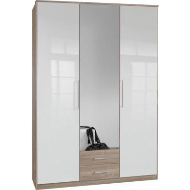 Armoire adulte blanc contemporain L. 135 x P. 58 x H. 199 cm collection Chiarano