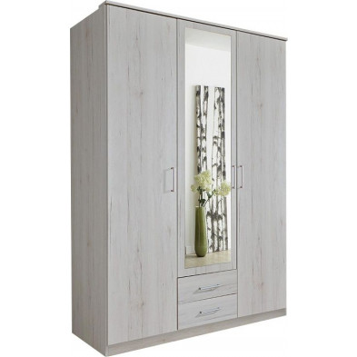 Armoire adulte blanc contemporain L. 135 x P. 58 x H. 199 cm collection Lever