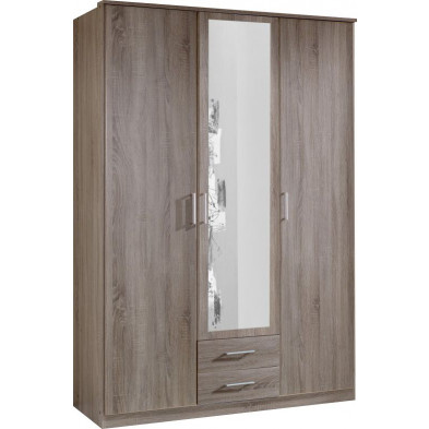 Armoire adulte marron contemporain L. 135 x P. 58 x H. 199 cm collection Lever
