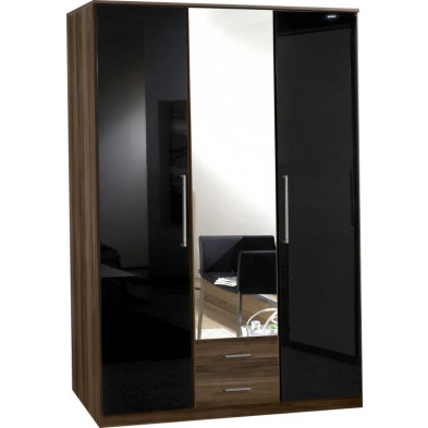 Armoire adulte marron contemporain L. 135 x P. 58 x H. 199 cm collection Chiarano