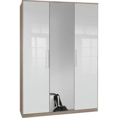 Armoire adulte blanc contemporain en panneaux de particules de haute qualité L. 135 x P. 58 x H. 199 cm collection Chiarano