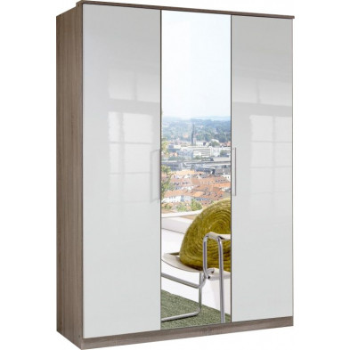 Armoire adulte blanc contemporain L. 135 x P. 58 x H. 199 cm collection Chiarano
