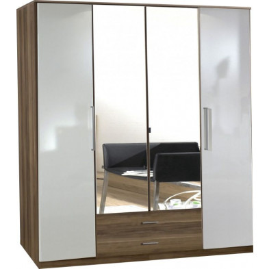 Armoire adulte blanc contemporain L. 180 x P. 58 x H. 199 cm collection Chiarano