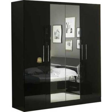 Armoire adulte noir design en panneaux de particules de haute qualité L. 180 x P. 58 x H. 210 cm collection Derry