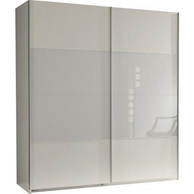 Armoire porte coulissante blanc design en panneaux de particules mélaminés de haute qualité L. 135 x P. 64 x H. 198 cm collection Schuiling