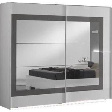 Armoire porte coulissante blanc design L. 200 x P. 63 x H. 210 cm collection Anapaola