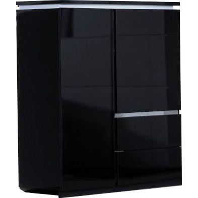 Vitrine noir design en panneaux de particules de haute qualité L. 110 x P. 42 x H. 125 cm collection Bosavern
