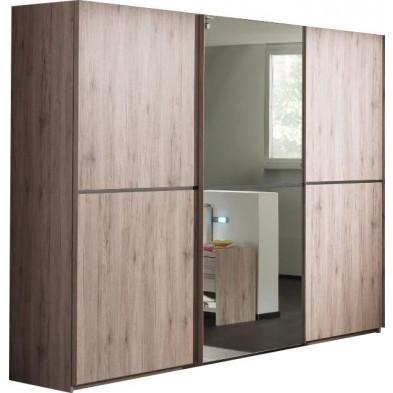 Armoire porte coulissante marron contemporain en panneaux de particules mélaminés de haute qualité L. 250 x P. 65 x H. 220 cm collection Eldard