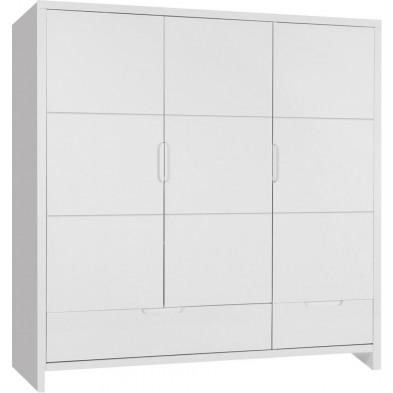 Armoire pour enfant classique blanc en bois mdf et panneaux de particules de haute qualité L. 161 x P. 58 x H. 185 cm Collection Dumoulin