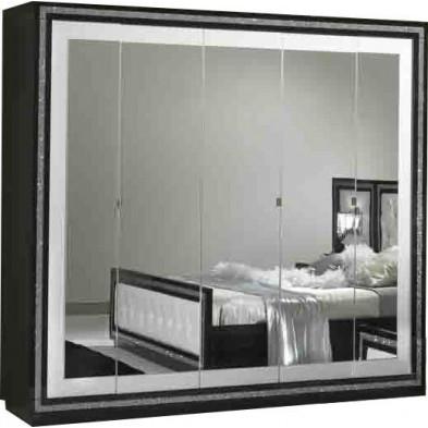 Armoire adulte blanc design en panneaux de particules de haute qualité L. 225 x P. 59 x H. 210 cm collection Saliha