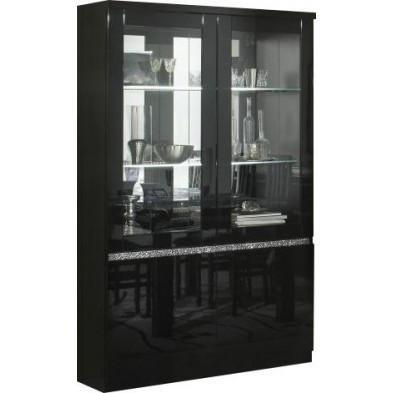 Vitrine noir design en panneaux de particules de haute qualité L. 115 x P. 40 x H. 191 cm collection Hilma