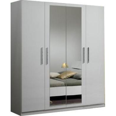 Armoire adulte blanc design en panneaux de particules de haute qualité L. 180 x P. 58 x H. 210 cm collection Fischach