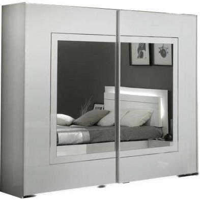 Armoire porte coulissante blanc design L. 240 x P. 63 x H. 210 cm collection Nomi