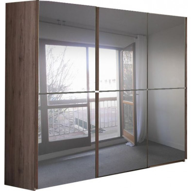 Armoire adulte marron contemporain en panneaux de particules mélaminés de haute qualité L. 280 x P. 65 x H. 220 cm collection Eldard