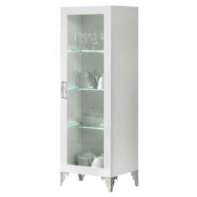 Vitrine blanc design en panneaux de particules de haute qualité L. 46 x P. 60 x H. 182 cm collection Castanheira