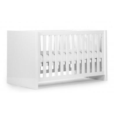 Lit bébé évolutif moderne blanc en bois MDF 70x140 cm Collection Thomasburg
