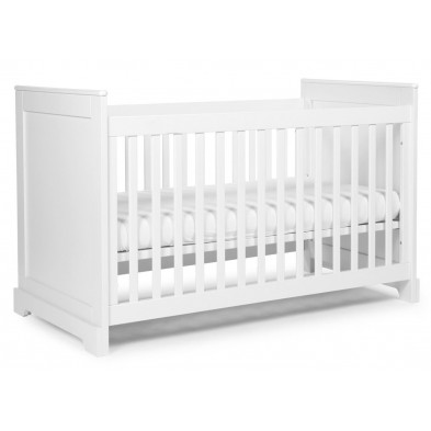 Lit bébé évolutif moderne blanc en bois MDF et panneaux de particules de haute qualité 70x140cm Collection Ermenegildo