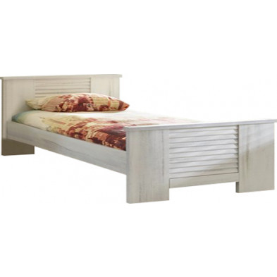 Lit 140 x 190 cm contemporain blanc et gris en bois mdf et panneaux de particules mélaminés Collection Stockingford