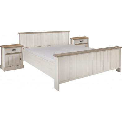 Ensemble lit avec 2 chevets contemporain blanc et marron en bois mdf et panneaux de particules mélaminés 160 x 190 cm Collection Neerlanden