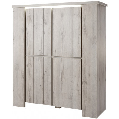 Argentier - meuble bar contemporain gris en bois mdf et panneaux de particules mélaminés L. 145.5 x P. 50 x H. 165.1 cm Collection Hardenbol