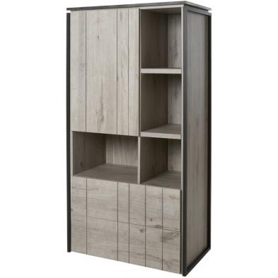 Argentier - meuble bar contemporain gris en bois mdf et panneaux de particules mélaminés L. 84.6 x P. 164.8 x H. 50 cm Collection Steff