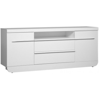 Buffet - bahut - enfilade blanc design en bois mdf L. 200 x P. 51 x H. 86 cm collection Jessie