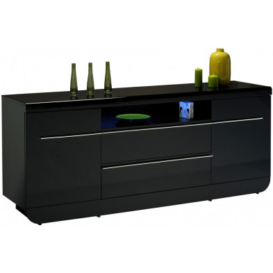 Buffet - bahut - enfilade noir design en bois mdf L. 200 x P. 51 x H. 86 cm collection Schimmel