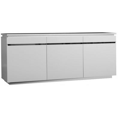 Buffet - bahut - enfilade blanc design en panneaux de particules de haute qualité L. 200 x P. 50 x H. 83 cm collection Mcnally