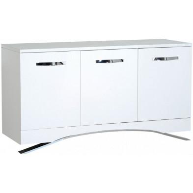 Buffet - bahut - enfilade blanc design en panneaux de particules en finitions laquées L. 150 x P. 51 x H. 82 cm collection Vandenboom