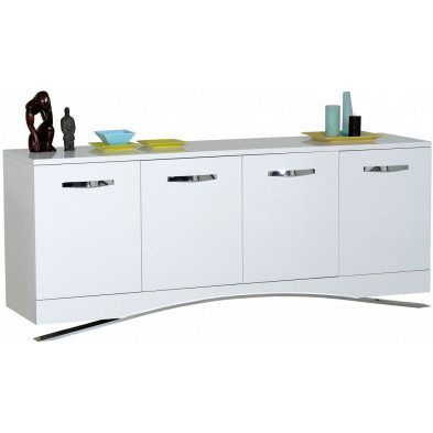 Buffet - bahut - enfilade blanc design en bois mdf L. 200 x P. 51 x H. 82 cm collection Vandenboom