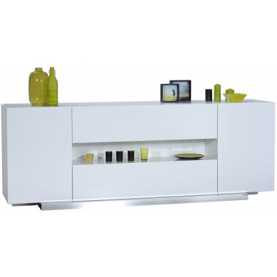 Buffet - bahut - enfilade blanc design L. 220 x P. 55 x H. 80 cm collection Giddy