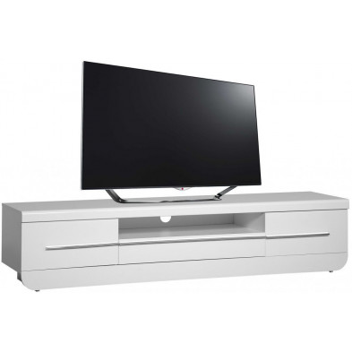 Meuble tv blanc design en bois mdf L. 220 x P. 51 x H. 49 cm collection Jessie