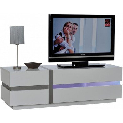 Meuble tv blanc design L. 150 x P. 50 x H. 47 cm collection Meulemans