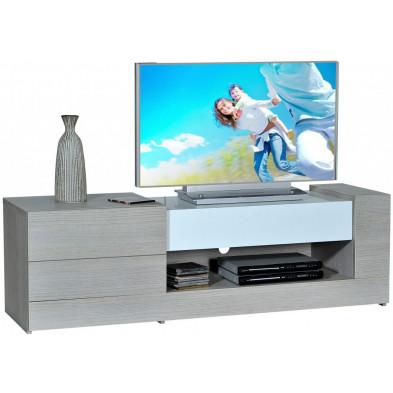 Meuble tv blanc design en panneaux de particules de haute qualité L. 150 x P. 45 x H. 46 cm collection Humphries