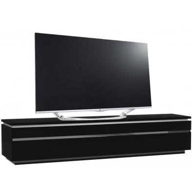 Meuble tv noir design en panneaux de particules de haute qualité L. 220 x P. 50 x H. 45 cm collection Bosavern