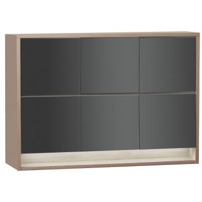 Rangement marron moderne en panneaux de particules de haute qualité L. 189,2 x P. 48 x H. 145,1 cm collection Bartels