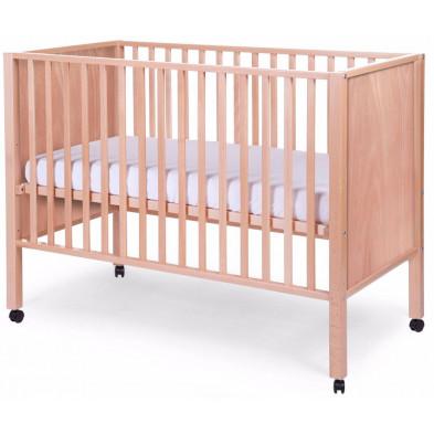 Lit bébé avec roulettes contemporain beige en bois massif hêtre 60x120cm Collection  Nordeste