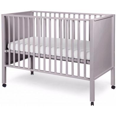 Lit bébé avec roulettes classique gris en bois massif hêtre  60x120cm Collection Nordeste