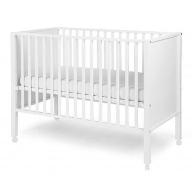 Lit bébé avec roulettes contemporain blanc en bois massif hêtre 60x120cm Collection Nordeste