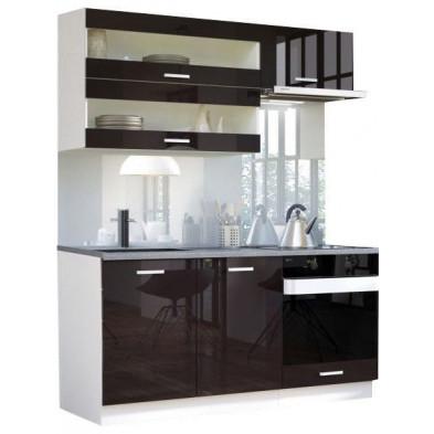 Ensemble cuisine ultra moderne coloris blanc mat et noir laqué L. 160 x P. 60 cm collection Bayton