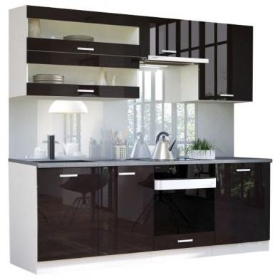 Ensemble cuisine ultra moderne coloris blanc mat et noir laqué L. 220 x P. 60 cm collection Bayton