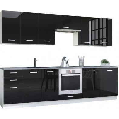 Ensemble cuisine complète ultra moderne coloris blanc mat et noir laqué L. 300 x P. 60 cm collection Bayton