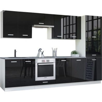Ensemble cuisine complète ultra moderne coloris blanc mat et noir laqué L. 320 x P. 60 cm collection Bayton
