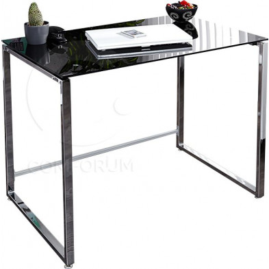Bureau Design rectangle en verre noir et métal L. 90 x P. 60 x H. 76 cm collection Jasmine