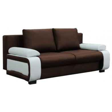 Canapé convertible design à 2 places en pvc marron et beige avec coffre de rangement L. 200 x P. 97 x H.90 cm collection Madone