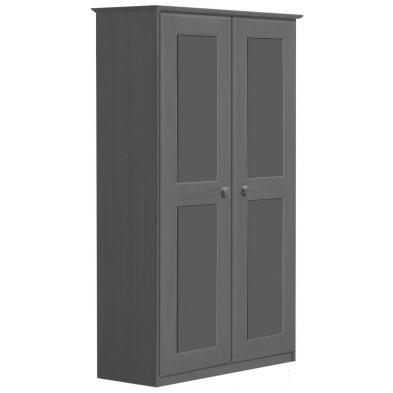 Armoire gris contemporaine en bois massif  L. 86 x H. 196 cm collection Genoveffa