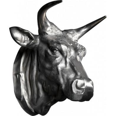 Trophée mural argenté de 65 cm en tête de taureau collection Hill .