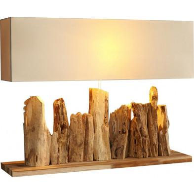 Lampe à poser en bois flotté coloris beige L. 80 x P. 20 x H. 55 cm collection Burchett