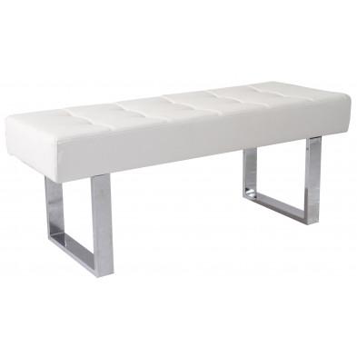 Repose-pied et pouf blanc design en bois mdf 2 places L. 122 x P. 45 x H. 48 cm collection Jakobus