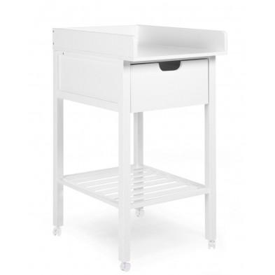 Table à langer mobile classique blanc en bois massif et hetre L. 55 x P. 75 x H. 102 cm Collection Roudebush